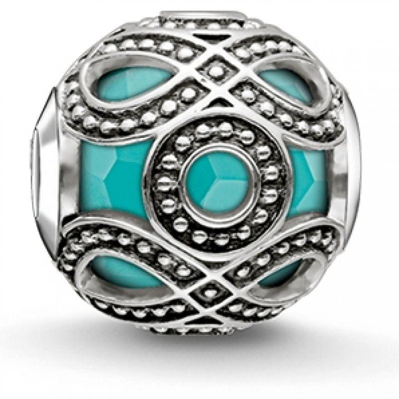 Ladies Thomas Sabo Sterling Silver Karma Beads Turquoise Ethnic Bead K0209-878-17