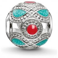 Ladies Thomas Sabo Sterling Silver Karma Beads Turquoise And Red Ethnic Bead
