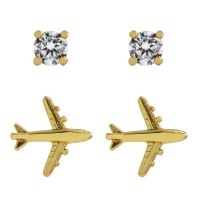 Juicy Couture Dam Jet Set Stud Earrings PVD guldpläterad WJW813-710
