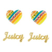 femme Juicy Couture Jewellery Enamel Heart Stud Earrings Set Watch WJW973-710-U