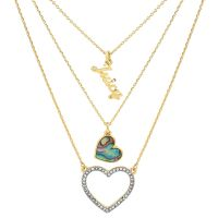 Ladies Juicy Couture Gold Plated Mother Of Pearl Heart Double Strand Necklace