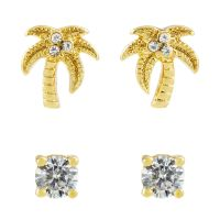 femme Juicy Couture Jewellery Palm Tree Stud Earrings Set Watch WJW880-710-U