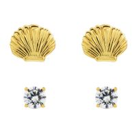 Juicy Couture Dam Seashell Stud Earrings Set Guldpläterad WJW929-710-U