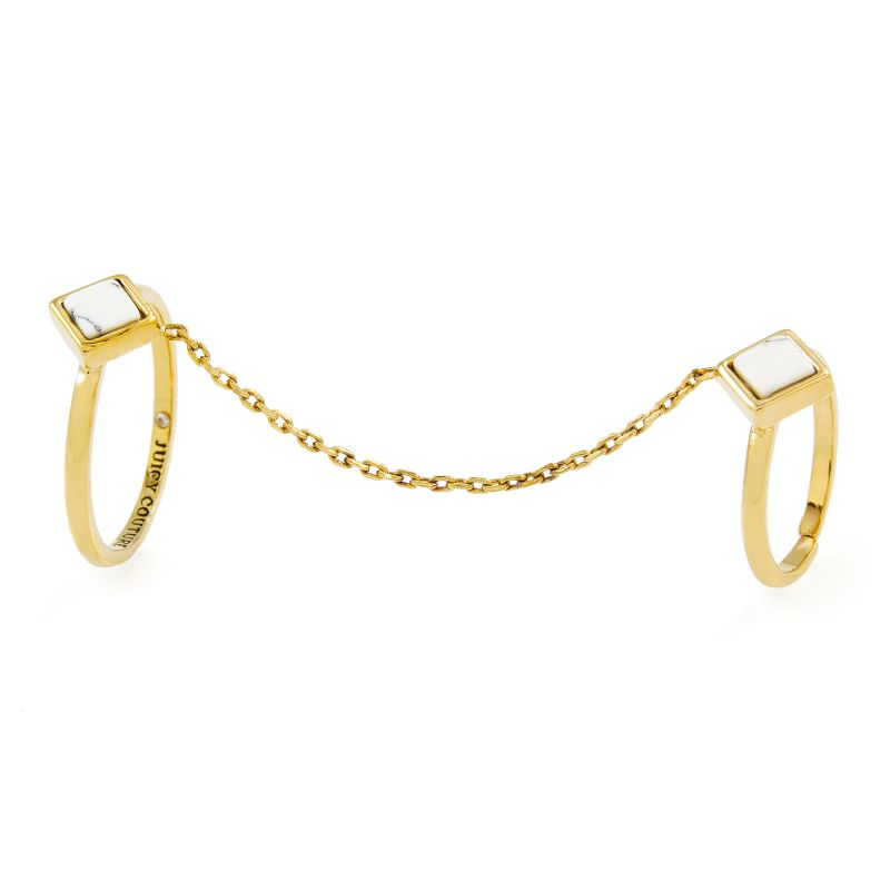 Ladies Juicy Couture Gold Plated White Turquoise Double Chain Rings WJW933-710-8