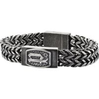 Mens Police Black Ion-plated Steel P-Link Bracelet