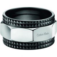 Damen Calvin Klein Schwarz ionenbeschichteter Stahl RING SIZE U