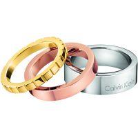Damen Calvin Klein zwei-Tone Steel und Rose Plate RING SIZE P