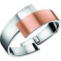 Ladies Calvin Klein Two-Tone Steel and Rose Plate Small Intense Bangle