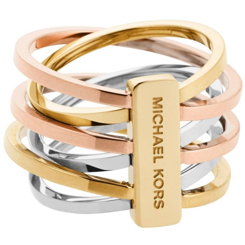 Ladies Michael Kors Two-tone steel/gold plate Ring Size O MKJ4421998506