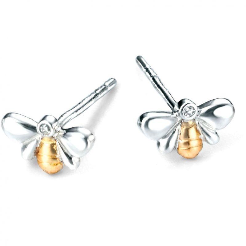Childrens D For Diamond Sterling Silver Earrings E4818