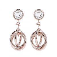 Ladies Bronzallure 18ct Gold Plated Bronze Crystal Quartz Earrings