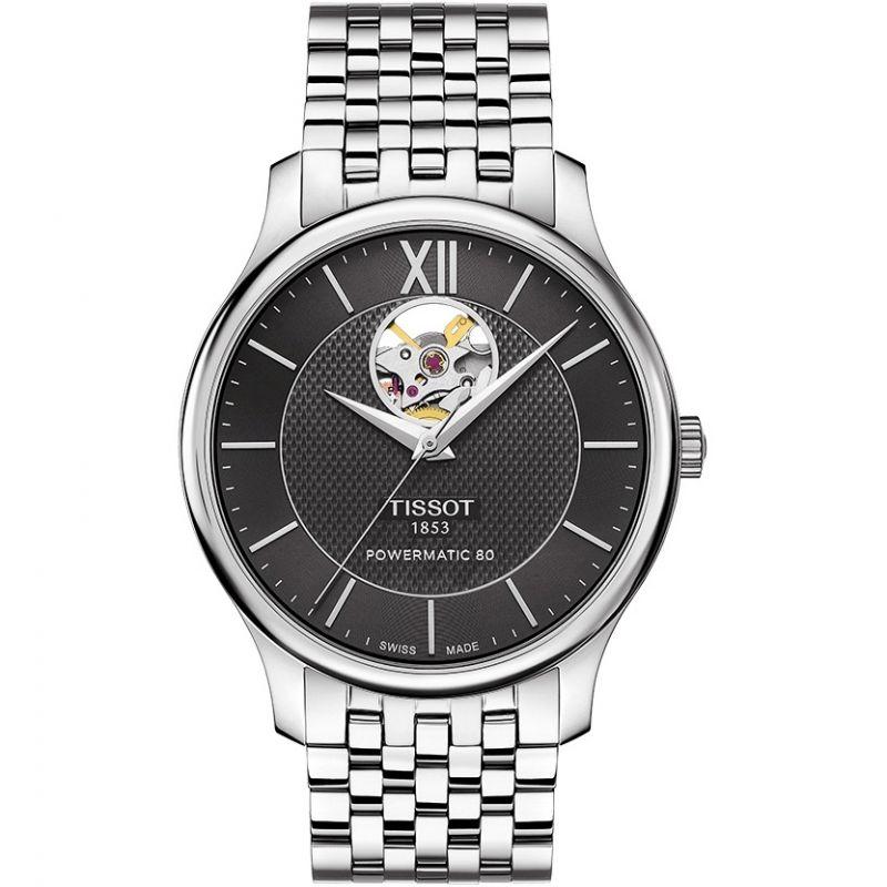 Herren Tissot Tradition Open Heart Powermatic 80 Watch T0639071105800