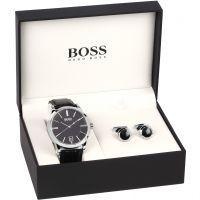 Herren Hugo Boss Manschettenknopf Geschenk-Set Uhr