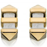 Ladies Fiorelli PVD Gold plated Marble Bar Stud Earrings