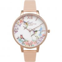 Damen Olivia Burton Painterly Prints Floral Birds Print Watch OB15PP12