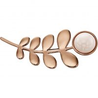 Ladies Orla Kiely Rose Gold Plated Leaf & Stone Brooch
