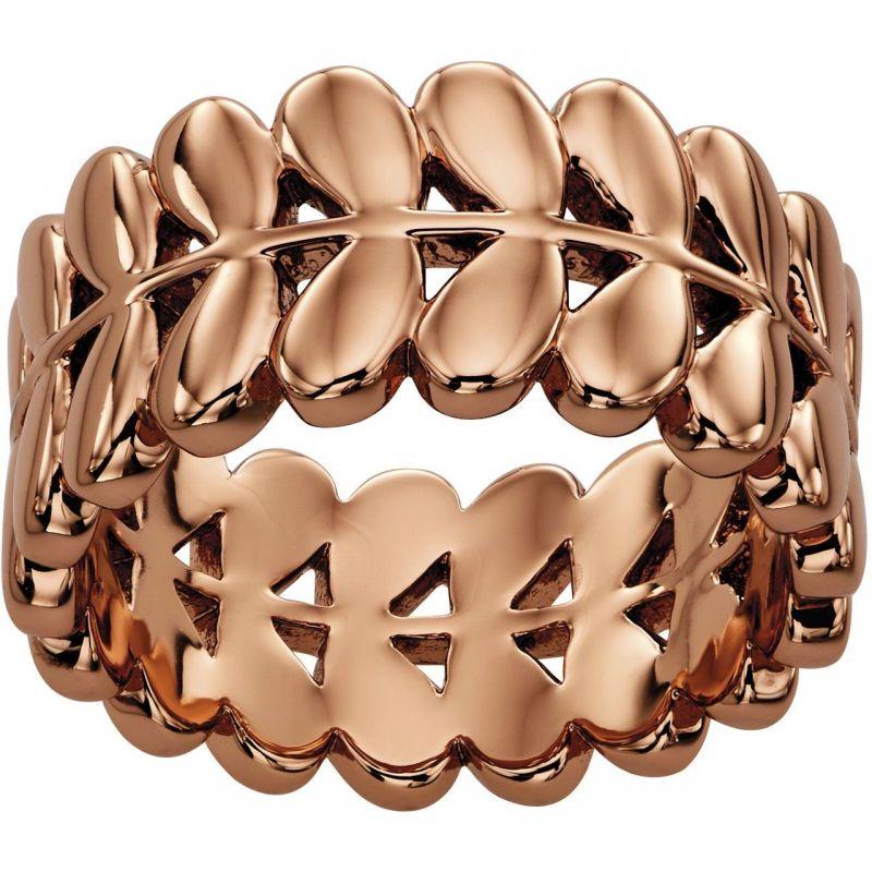 Ladies Orla Kiely Rose Gold Plated Leaf Ring R3469/56
