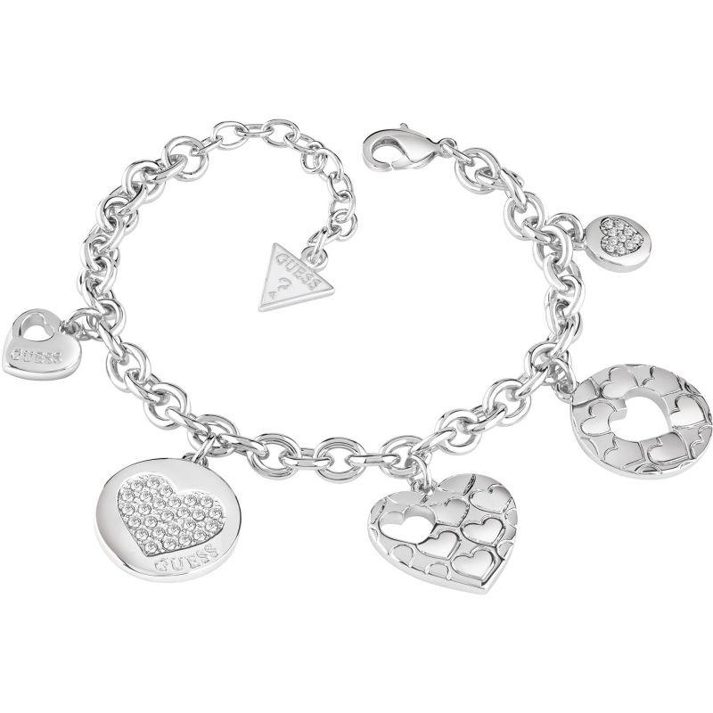 Ladies Guess Rhodium Plated Heart Devotion Bracelet UBB82048-L